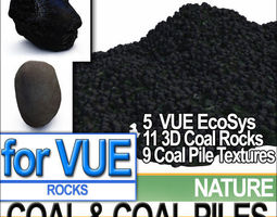 Coal Rocks and Piles VUE EcoSystem 3D Model