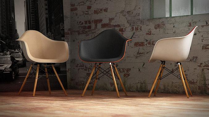 vitra eames plastic armchair 3d cgtrader. Black Bedroom Furniture Sets. Home Design Ideas