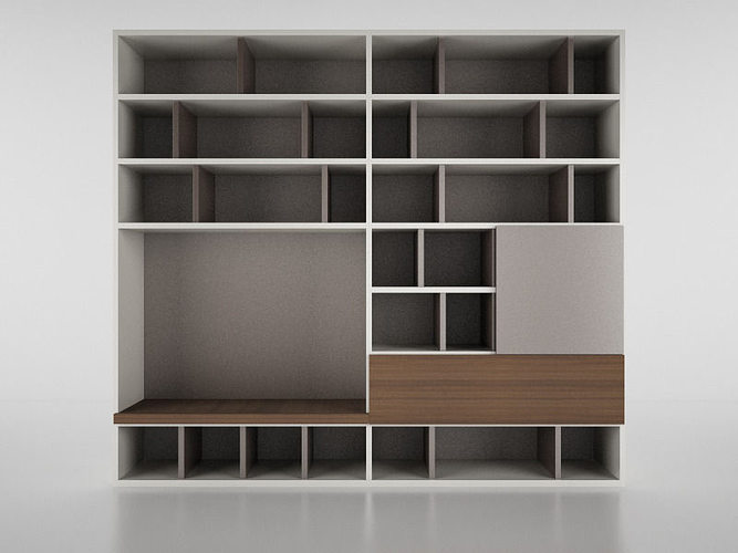 molteni 505 1 with books 3d cgtrader. Black Bedroom Furniture Sets. Home Design Ideas