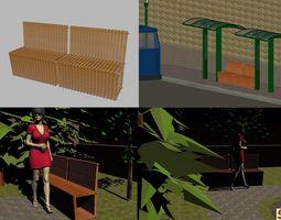 Bench - acacia 3D