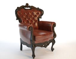 armchair classic s5 3d model low-poly animated