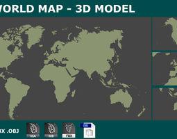 VR / AR ready 3D WORLD MAP PLANISPHERE