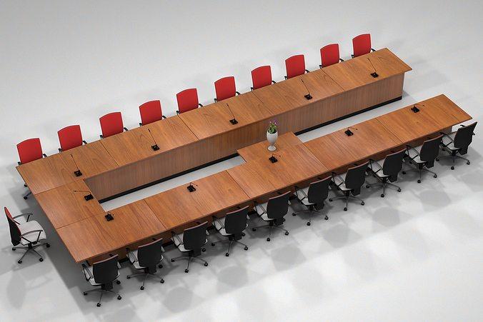 meeting table 3d model obj 3ds fbx c4d mtl 1
