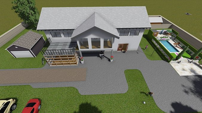Simple house free 3d model skp for Minimalist house 3d max