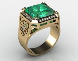 ring with emerald 3D printable model