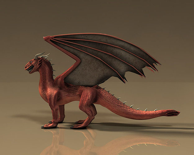 model winged red dragon vr ar  poly max obj ds fbx cd ma mb cgtradercom