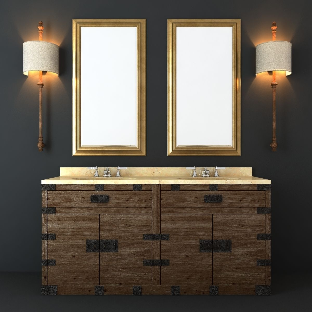 Restoration Hardware Bathroom Furniture Set D Model MAX OBJ FBX MTL - Restoration bathroom