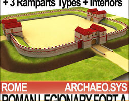 Roman Legionary Fort A and Scenery Square Plan 3D Model