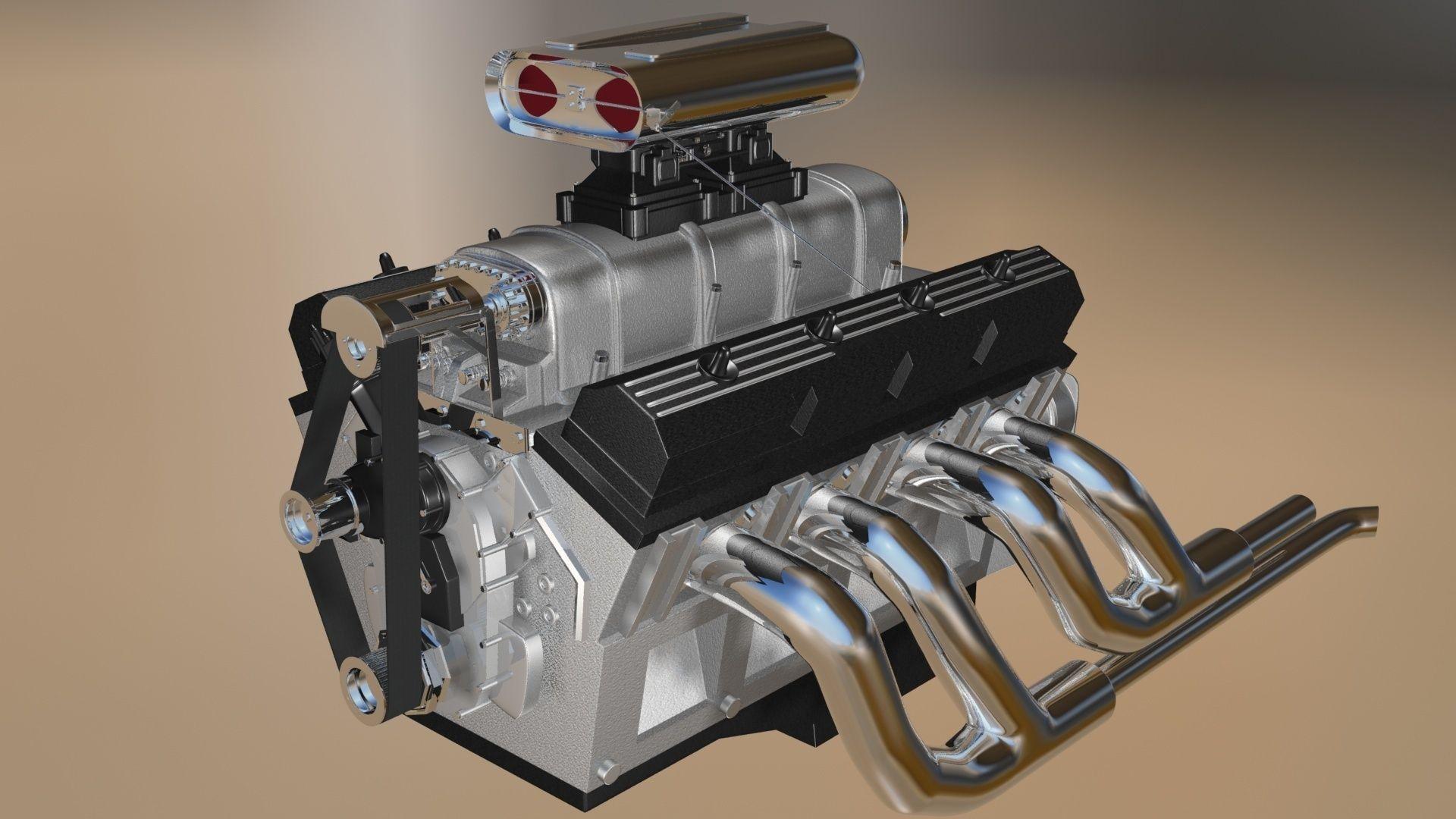 Custom Build V8 Engine 3D model | CGTrader