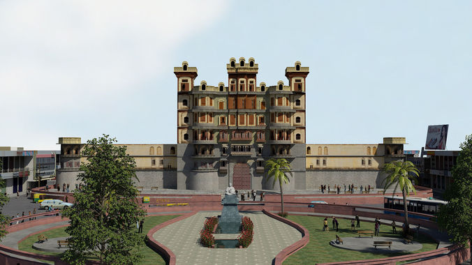 Rajwada is a historical palace in Indore city3D model