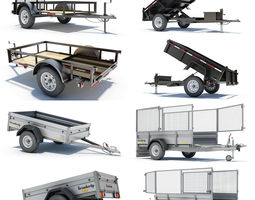 4 Utility Trailers 3D Model