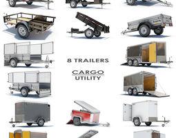 8 Utility Cargo Trailers 3D Model