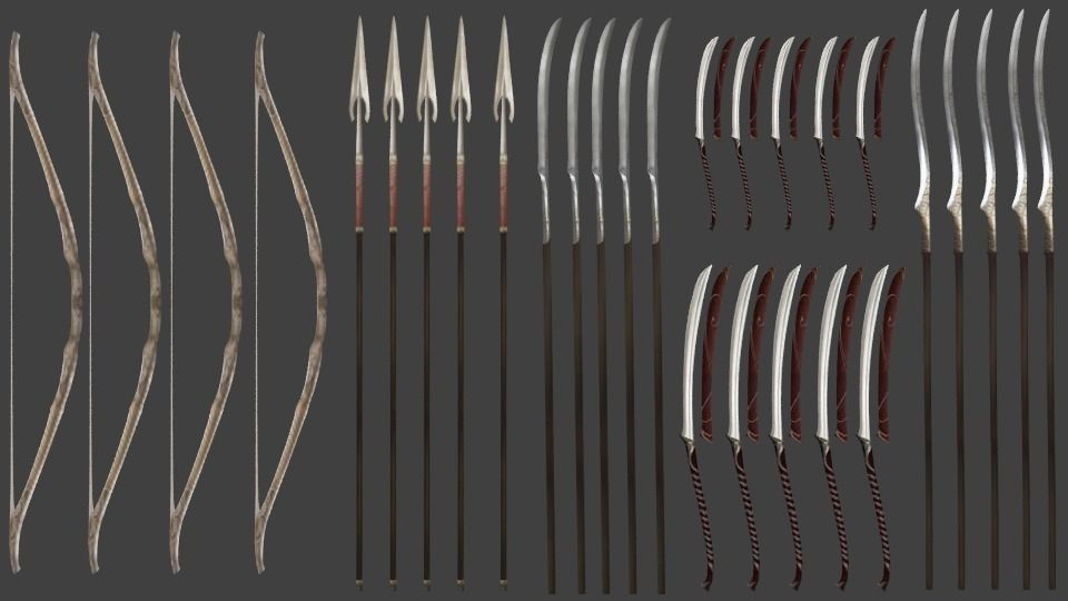 Elf Weapons  swords spears bow
