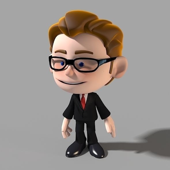 Cartoon Characters 3d Model : Cartoon character businessman d model animated rigged max