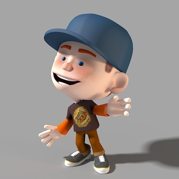 3 Cartoon Character Images : Cartoon character casual boy d model animated rigged max