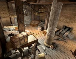 Pirate ship cabins 3D Model