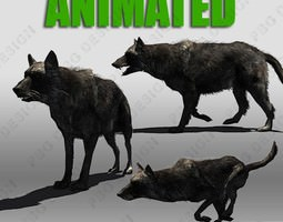 VR / AR ready 3d model wolf pack animated