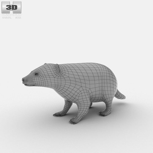 Common Badger (Meles Meles Meles) 3D Model .max .obj .3ds .fbx .lwo .lw .lws .c4d