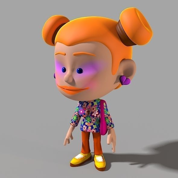 Cartoon Characters 3d Model : Cartoon character funny girl d model animated rigged max