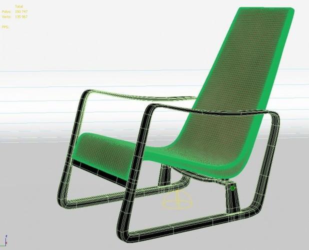 fauteuil cite by jean prouve 3d model max obj. Black Bedroom Furniture Sets. Home Design Ideas