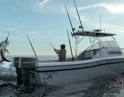 3d grady white sport fishing boat