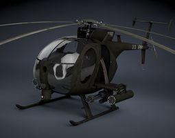mh-6 little bird gunship 3d model max obj 3ds fbx c4d skp