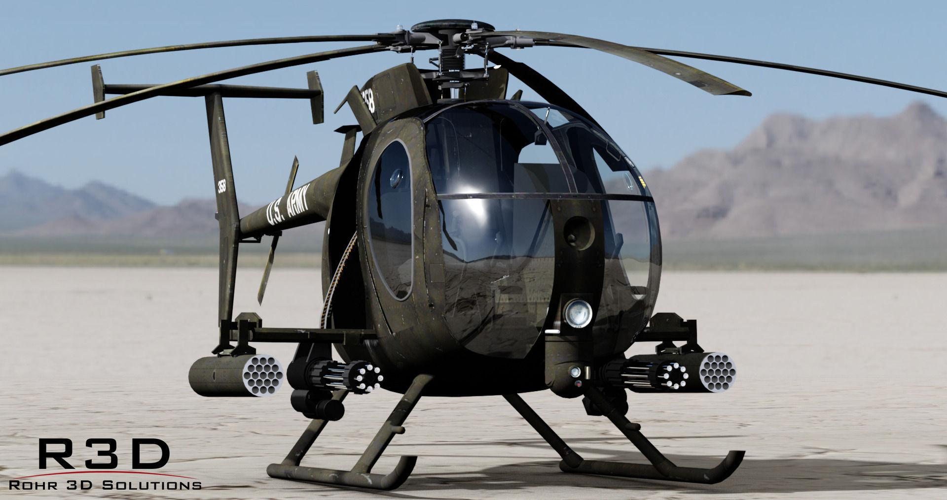 MH-6 Little Bird Gunship 3D Model .max .obj .3ds .fbx .c4d .skp - CGTrader.com