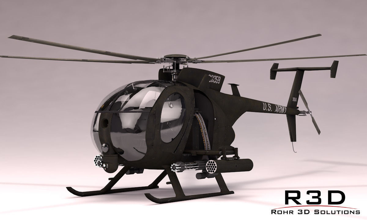 MH-6 Little Bird Gunship 3D Model MAX OBJ 3DS FBX C4D SKP ...