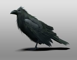 rigged 3d raven