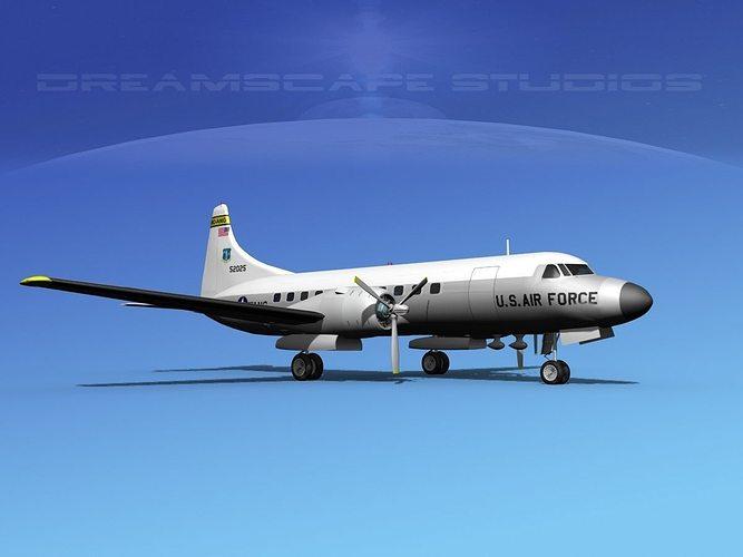 convair t-29 us mo ang 3d model max obj mtl 3ds lwo lw lws dxf stl 1