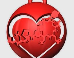3D printable model Oxytocin Heart Pendant 2