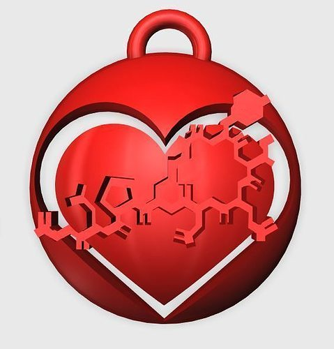 oxytocin heart pendant 2 3d model stl 1