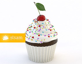 Cupcake with Cherry 3D