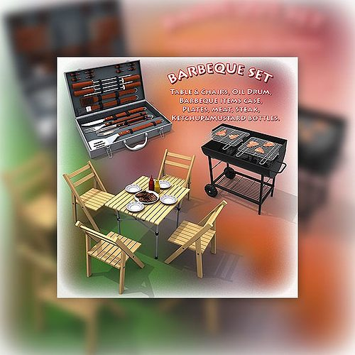 barbeque set 3d model max obj 3ds lwo lw lws mtl 1