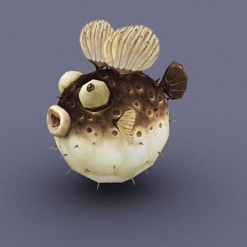 Puffer brown cartoon fish3D model