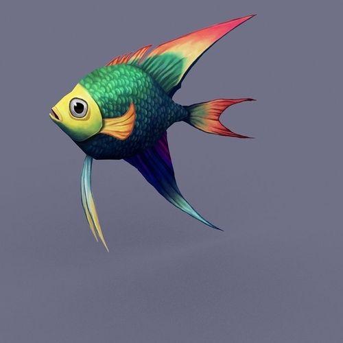Rainbow fish cartoon3D model