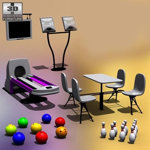 Bowling set3D model