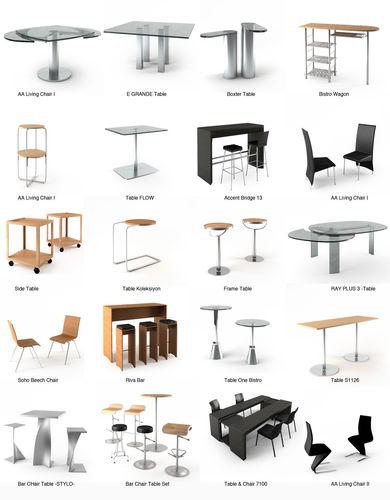 Designer Table and Chair Collection3D model