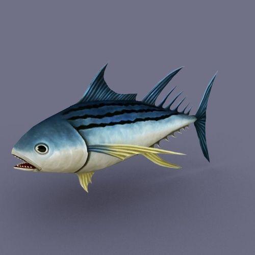 Striped Tuna dark cartoon3D model