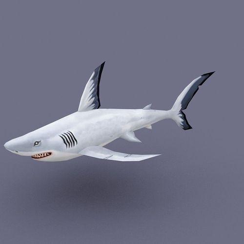 Thunder White fish cartoon3D model