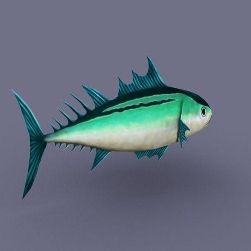 3d Tuna Fish: Tuna Emerald Fish Cartoon 3D Model Game Ready .max .obj