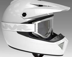 Motocross Helmet and Goggles 3D Model