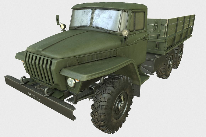 ural 375 truck 3d model low-poly max obj fbx tga 1
