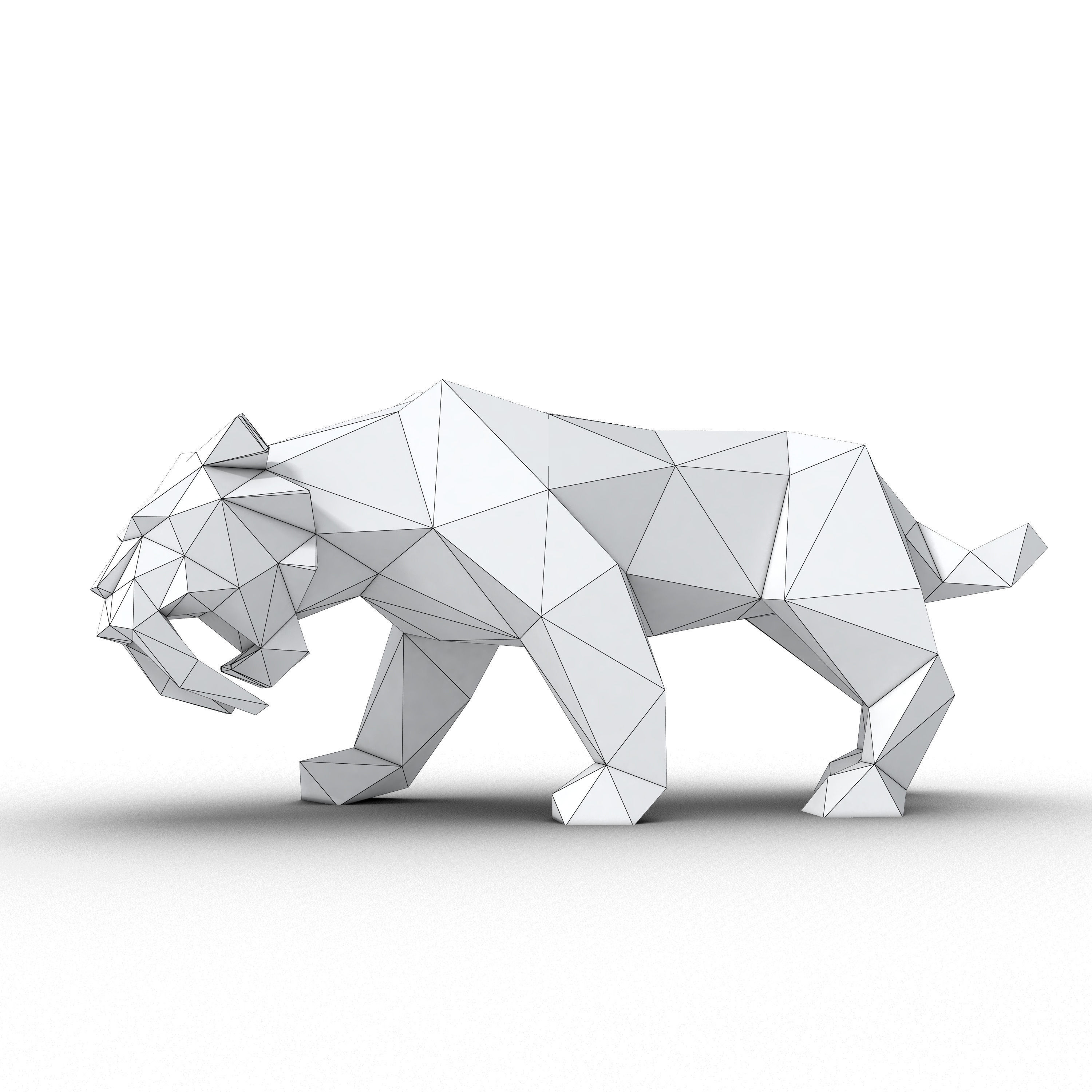 Low Poly Saber Toothed Tiger 3d Model Max 3ds Fbx Stl 5
