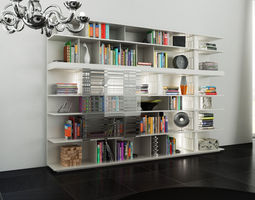 molteni sequence 1 with books -300x200x40 45 cm n04 in m4d vol11 3d