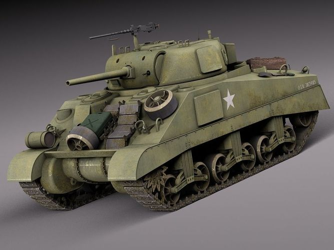 M4A2 Sherman Tank with equipment3D model