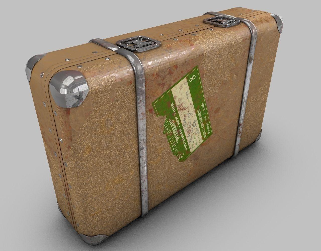 Vintage old suitcase 3d model obj 3ds fbx c4d dxf for The vintage suitcase