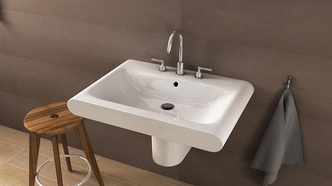 3d model ideal standard moments washbasin n21 cgtrader. Black Bedroom Furniture Sets. Home Design Ideas
