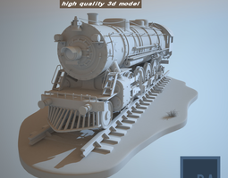 Steam Locomotive Train 3D Model