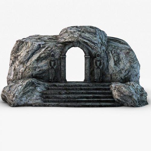 ancient entrance with stone statues 3d model max obj 3ds fbx c4d 4
